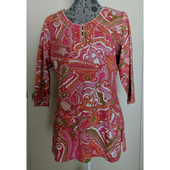 d68c48e6dc9 Soft Surroundings Tops | Beaded Tunic Size M Euc | Poshmark